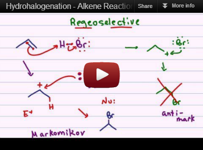 Hydrohalogenation of alkenes reaction mechanism tutorial video