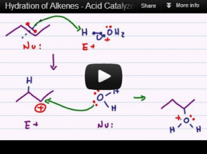 Acid catalyzed hydration alcohol formation alkene reaction mechanism