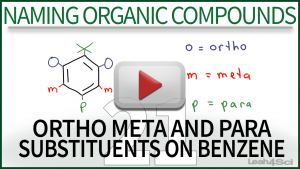 Naming Ortho Meta Para Substituents Benzene Tutorial Video by Leah4sci Orgo