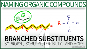 Nomenclature Branched Substituents isopropyl isobutyl tertbutyl Video Tutorial Orgo Leah Fisch