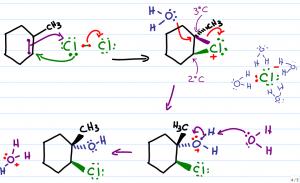 Markovnikovs rule in halohydrin formation