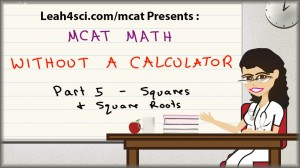 MCAT Math tutorial video on squares and square roots