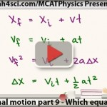 MCAT physics 9 kinematic equations