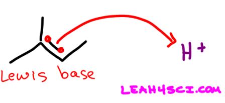 Alkene pi bond lewis base