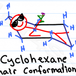 Drawing chair conformations and ring flips for cyclohexane