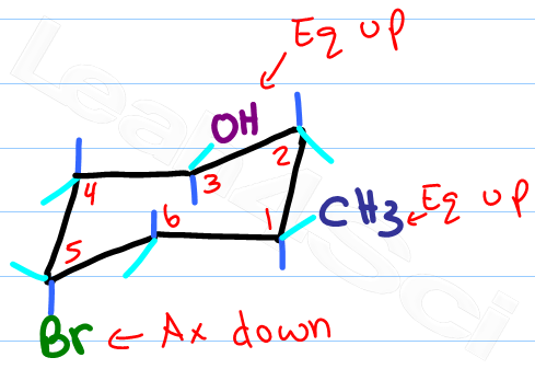 drawing axial and equatorial chair conformation substituents