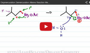 oxymercuration demercuration alkene reaction mechanism tutorial video