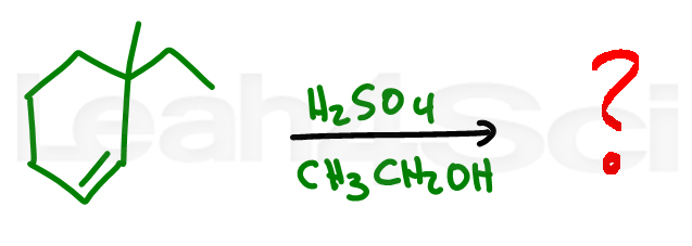 acid catalyzed alcohol addition with methyl shift alkene reaction practice question