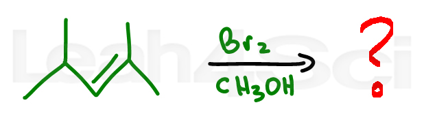 bromohydrin with alcohol alkene reaction practice question