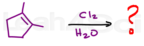 chlorohydrin alkene reaction practice question