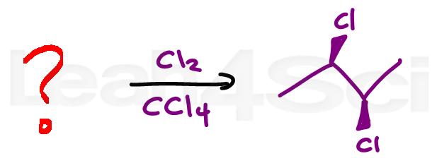 halogenation alkene reaction practice question