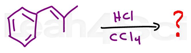 hydrochlorination alkene reaction practice question