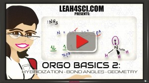 Orgo Basics Video 2 Hybridization Bond Angle and Geometry