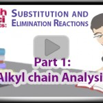 Alkyl halide carbon chain analysis video for substititutin and elimination reactions tutorial video
