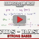 pH and pOH Calculations for Strong Bases in MCAT Chemistry Video 3
