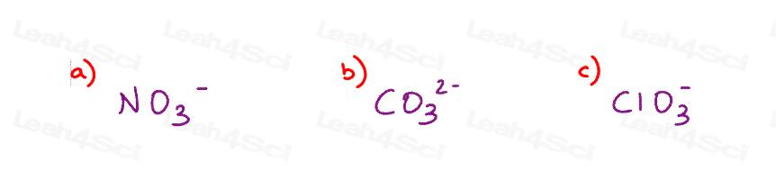 Resonance Quiz nitrate carbonate chlorate