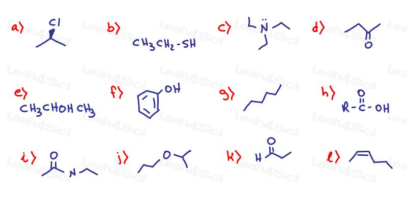 Functional Groups Organic Chemistry Practice Quiz Warm Up