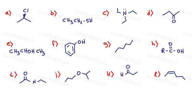 Functional Groups Organic Chemistry Practice Quiz Warm Up