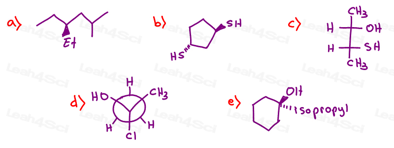 Stereochemistry Practice Questions Chiral Achiral