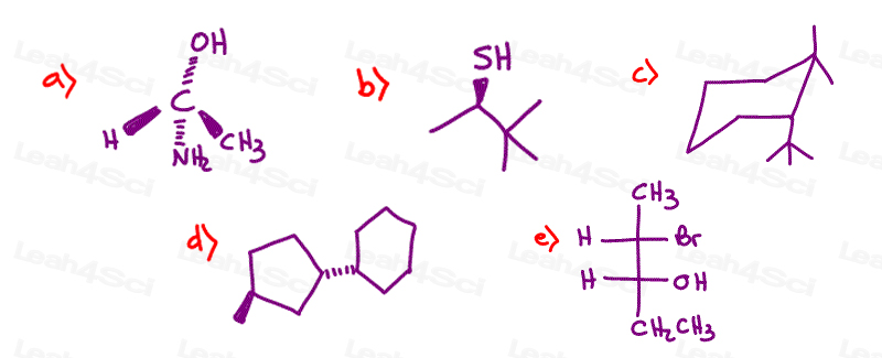 Stereochemistry Practice quiz finding R and S