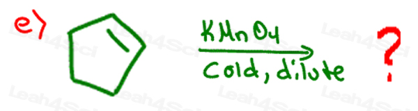 Redox Practice Quiz alkene with KMnO4 cold dilute