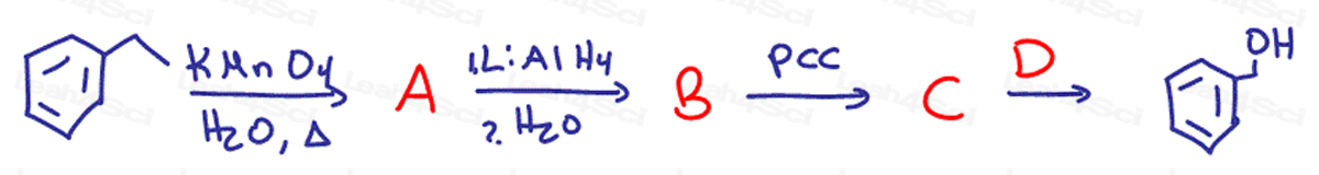 Redox Practice Quiz multi-step synthesis with KMnO4 LiAlH4 and PCC