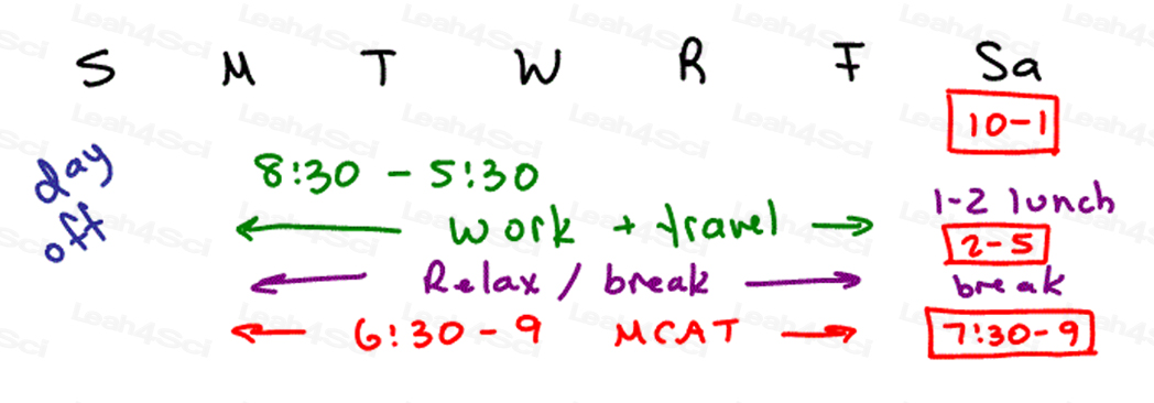 MCAT sample 6 month study schedule