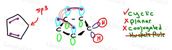 cyclopentadiene nonaromatic Aromaticity tutorial