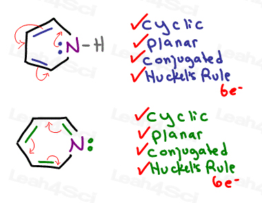 pyrrole and pyridine aromatic criteria lone electrons