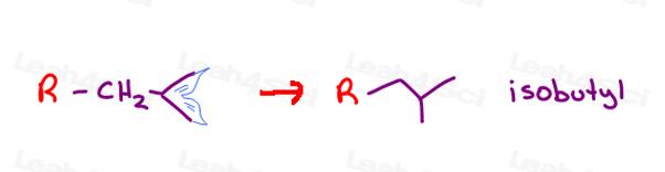 Isobutyl organic substituent looks like a fishtail