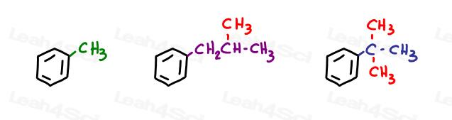 Isobutyl tert butyl substituents examples