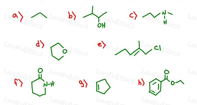 Skeletal Structures Practice line structure to Lewis and condensed (2)