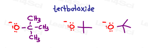 Tert butoxide or tert butyl oxide drawings