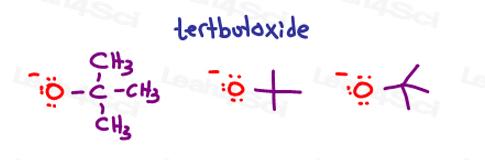 Tert butoxide or tert butyl oxide drawings