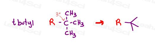Tert butyl organic nomenclature example of common names