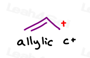 Allylic carbon and double bonds help stabilize the Carbocation