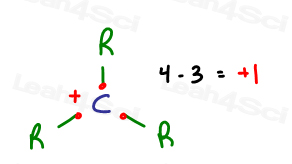 Formal charge calculation of Carbocation and planar geometry