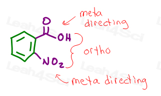 2-nitrobenzoic acid ortho relationship and meta directing