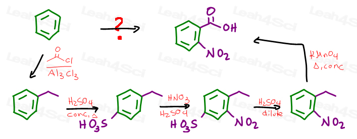Benzene to 2-nitrobenzoic acid multi-step synthesis with reagents
