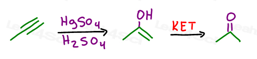 Can't go from alkyne to alcohol directly since the enol product would immediately tautomerize to a ketone or aldehyde in synthesis
