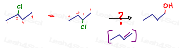 Converting halogen to a pirmary alcohol with non zaitsev pi bond intermediate