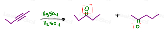 If you forget that an alkyne wll react with HgSO4 in H2SO4 to yield a ketone try something else