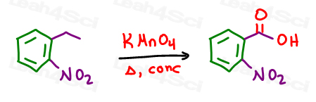 KMnO4 hot concentrated results in benzene side chain oxidation