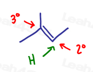 Markovnikov's Rule hydrogen goes to the Less substituted carbon