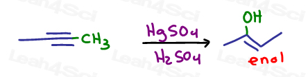 Now the carbon chaing is the right length so carry out the acid catalyzed hydration in synthesis