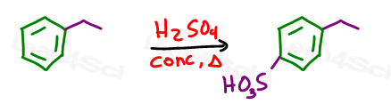aromatic sulfonation of ethylbenzene using concentrated sulfuric acid with heat