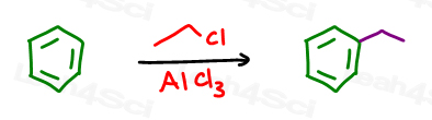 benzene with ethyl chloride and AlCl3 forms ethyl benzene