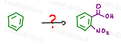 convert benzene to nitrated benzoic acid
