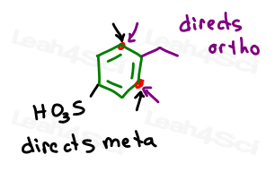 ethyl ortho para directing and sulfate meta directing effects on benzene