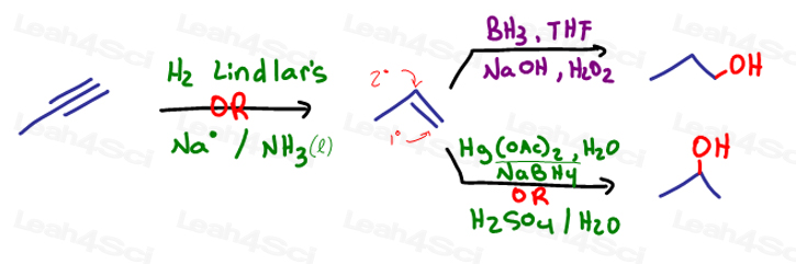 reduce the alkyne to an alkene by one of the following acid catalyzed hydration oxymercuration-demercuration hydroboration-oxidation in synthesis.jpg